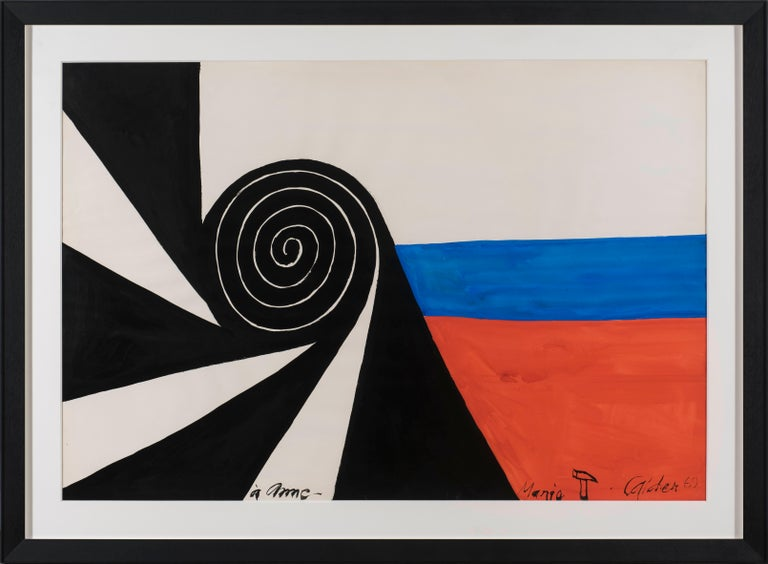 Alexander Calder Abstract Painting - Spirale, ALEXANDER CALDER - Abstract, Modern, Geometric, Red, Blue, Black