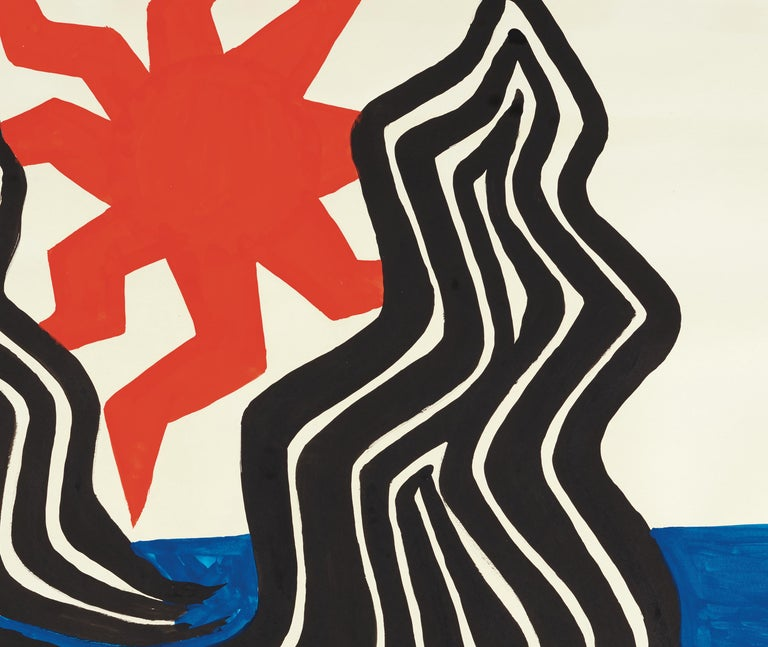 Zigzag Sun and Crags - Black Abstract Painting by Alexander Calder