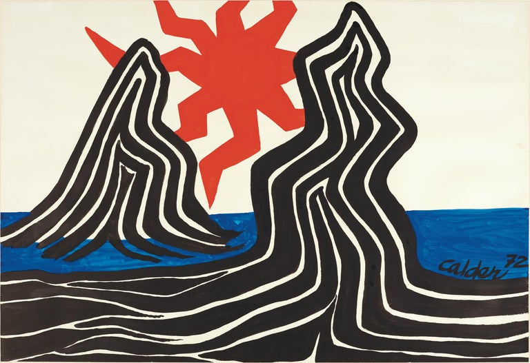 Alexander Calder Abstract Painting - Zigzag Sun and Crags