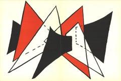 1963 Alexander Calder 'DLM No. 141 Pages 4,5' Surrealism Black & White,Red Litho
