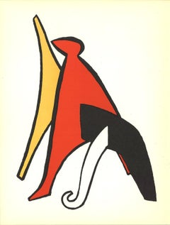 1963 Alexander Calder 'Intersecting Colored Forms' Surrealism Black & White,Red,