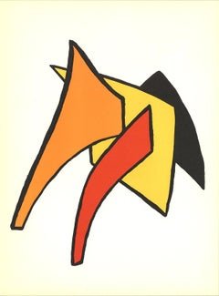1963 Alexander Calder 'Intersecting Colored Patterns' Surrealism Red,Orange,Blac