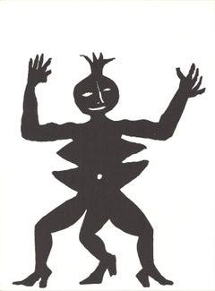 1963 Alexander Calder 'Three Legged Figure in Black' Modernism Lithograph