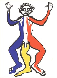 1963 Alexander Calder 'Three Legged Figure Lithograph' Modernism Multicolor Lith