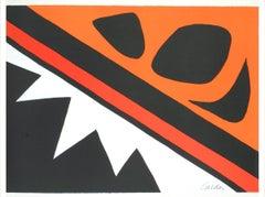1974 Alexander Calder 'La Grenouille et la Scie' Surrealism Orange,Black USA