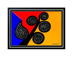 Alexander Calder Color Lithograph Autumn Spirals Framed Modern Artwork Signed