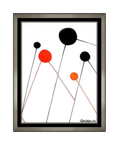 Alexander Calder Large Color Lithograph Balloons Framed Modern Artwork Signed