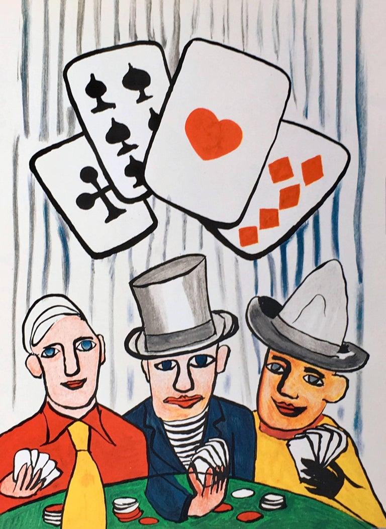 Alexander Calder Las Vegas card players lithograph (Calder prints)  - Print by Alexander Calder