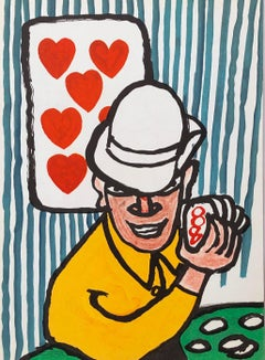 Alexander Calder lithograph 1970s (Calder card player)