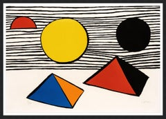 ALEXANDER CALDER  PYRAMIDS AND SUN  SIGNED AND NUMBERED