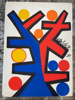 Alexandre Calder - Red and blue Lithography - 1972