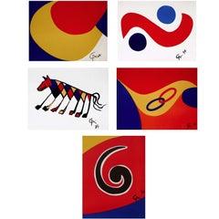 Braniff Airlines Flying Colors, Five 1974 Ltd Ed Lithos, Alexander Calder