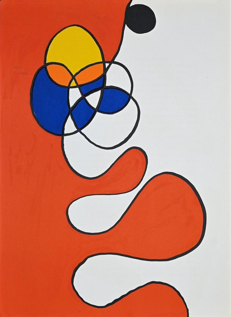 """Composition is an original lithograph realized by Alexander Calder in 1968 for the Art Magazine """"Derrière Le Mirror"""" no. 173.  Printed by Atelier Maeght  The artwork shows abstract shapes in vivid colors is typical of the artist's style.  Good"""
