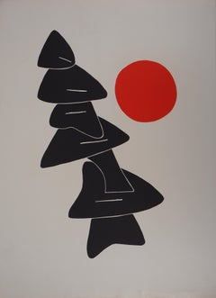 Composition with Red Ball - Original lithograph