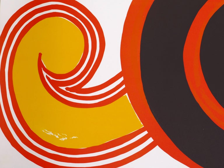 Composition With Spirals - Vintage Lithographic Poster - A. Calder - 1969 - Brown Abstract Print by Alexander Calder
