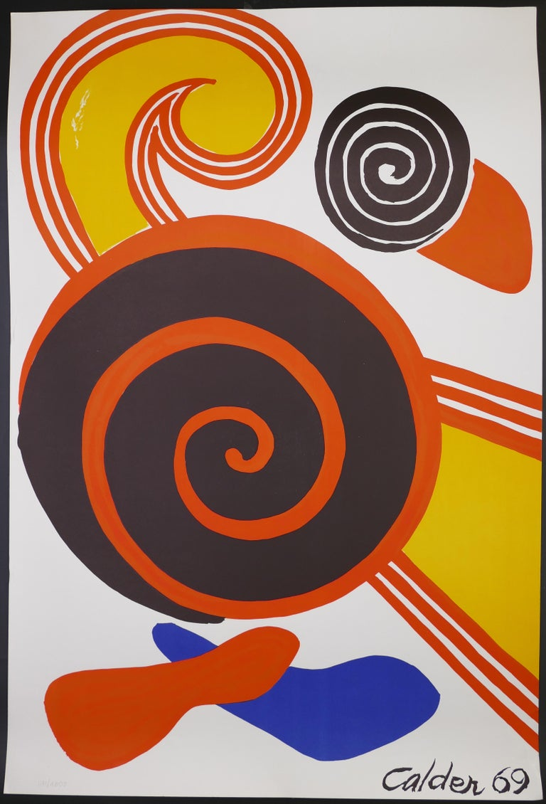 Alexander Calder Abstract Print - Composition With Spirals - Vintage Lithographic Poster - A. Calder - 1969