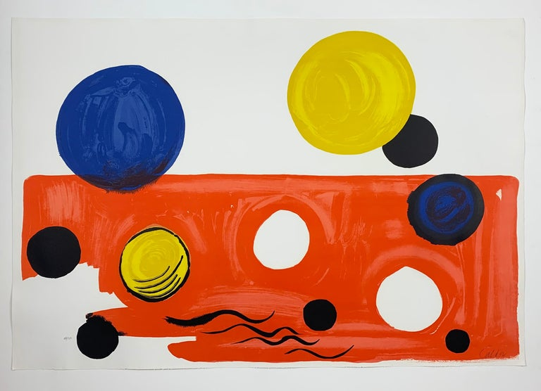 Artist: Alexander Calder Title: Landscape Date: 1975 Lithograph in colors Dimensions: 30.25 x 44 inches Signed and numbered 88/150 in pencil  Published by Transworld Art, New York.  Printed by Fernand Mourlot.