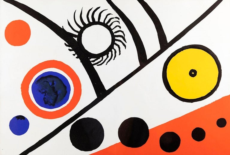 """Rayons noirs is an original colored lithograph realized by Alexander Calder in 1976. Not signed.  Published on """"Derriere Le Miroir"""" no. 221. Rare limited edition issued especially for Calder's exhibition at Galerie Maeght, Paris, 1976  Good"""