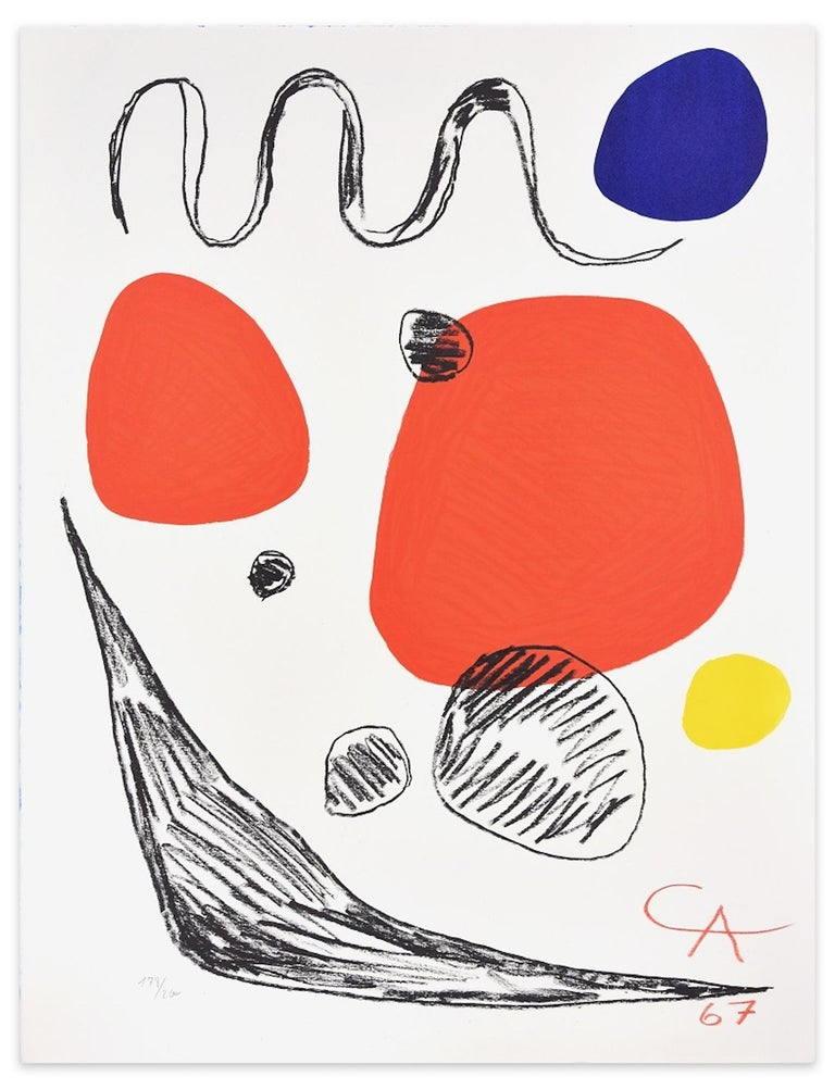 Red, Blue And Yellow Spheres is an original colored lithograph realized in 1967 by Alexander Calder.  Very good conditions. Monogrammed and dated on plate on lower right.  Numbered on lower left. Edition 178/200  The lithograph represents a very