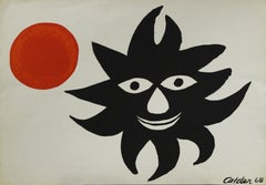 Red Sun 1968-Lithograph, Plate-signed by Artist