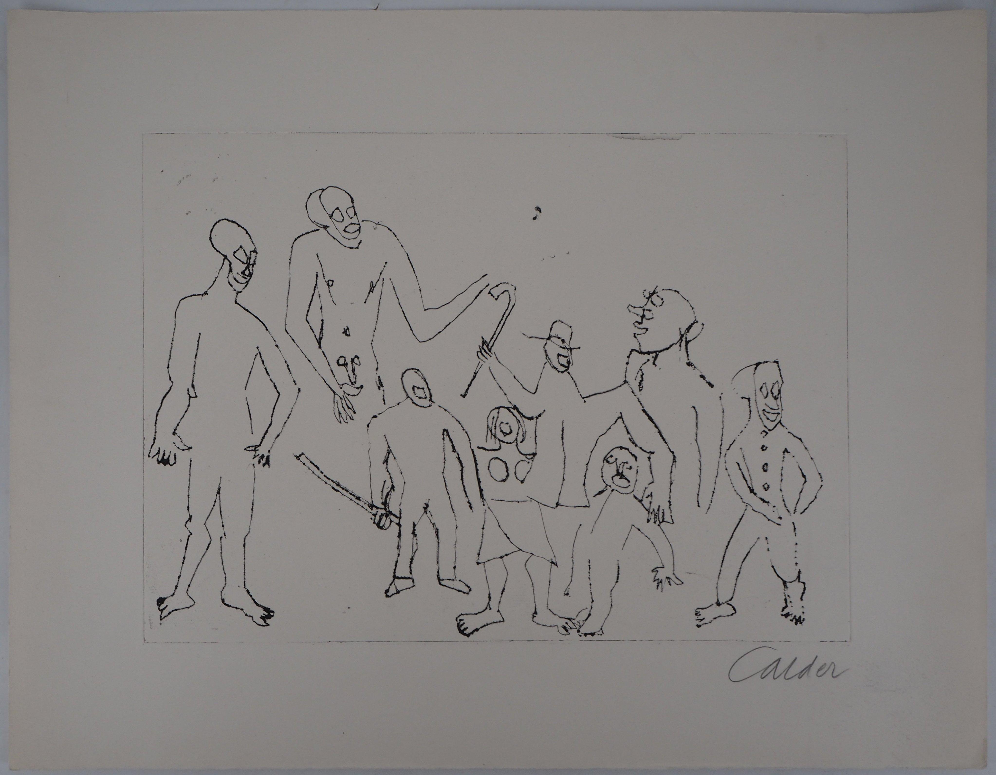 Santa Claus : Figures with Canes - Original Handsigned Etching