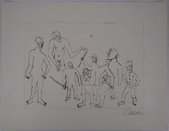 Santa Claus : Figures with Canes - Original Handsigned Etching