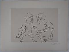 Santa Claus : Three Figures - Original Handsigned Etching