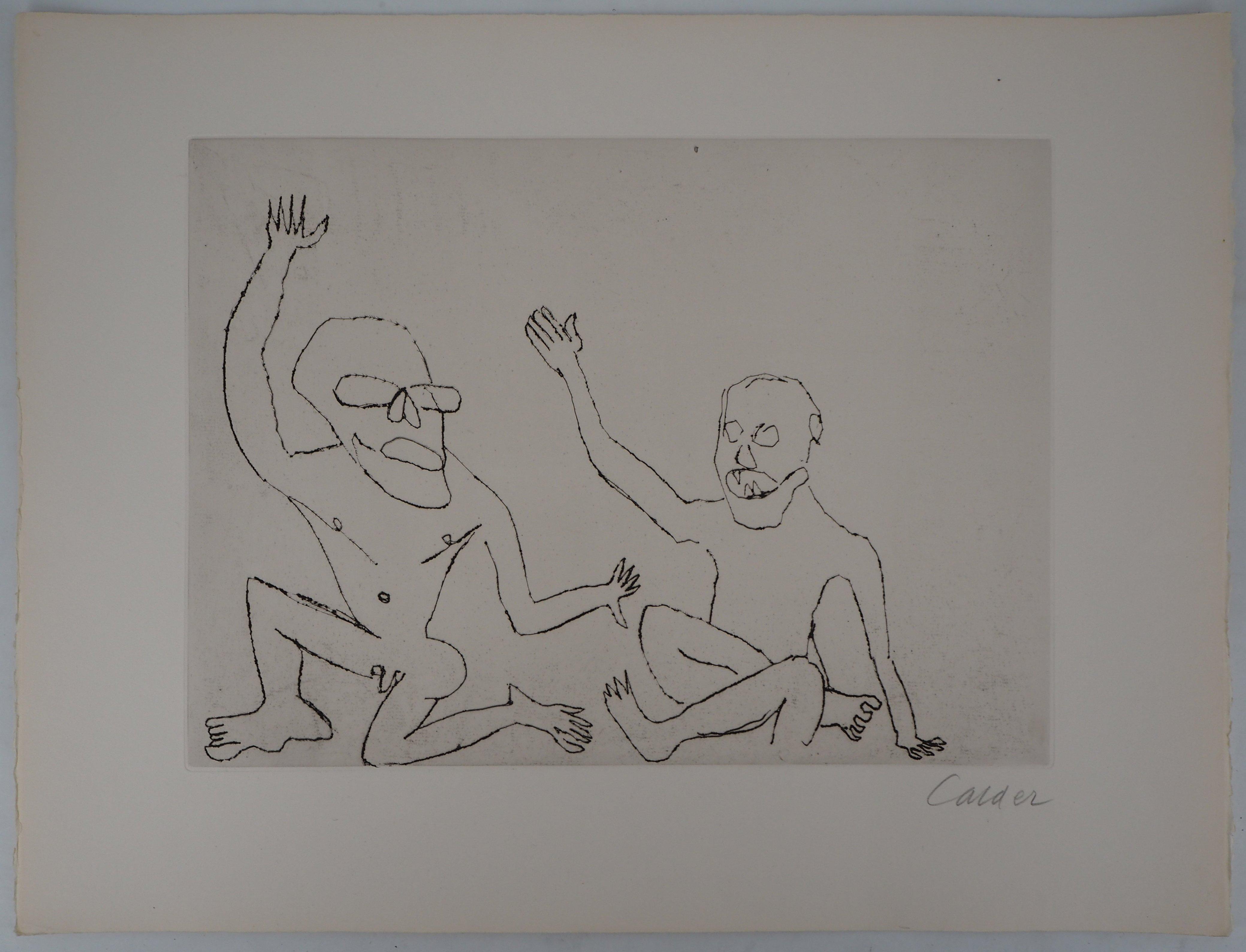Santa Claus : Two Men - Original Handsigned Etching