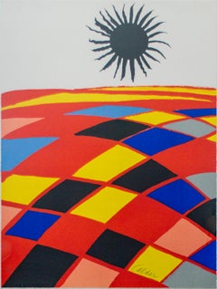 """Soleil Noir,"" Colored Lithograph Checkered Landscape signed by Alexander Calder"