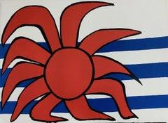 Soleil sur la Vagues (Red Sun Above the Waves), Ltd Ed Litho, Alexander Calder