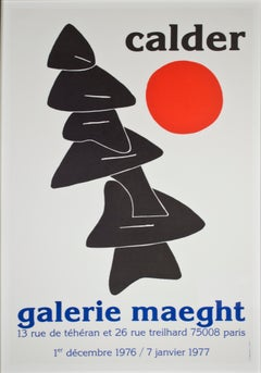 """Stabile with Red Sun Galerie Maeght,"" Original Lithograph Poster by A. Calder"