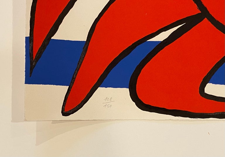 Artist: Alexander Calder Medium: Lithograph in colors on wove paper Title: Sun and Sea Year: c. 1970-1976 Edition: 108/150 Sheet Size: 23