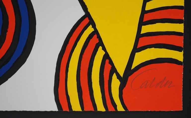 The Triangles et Spirale - Black Abstract Print by Alexander Calder