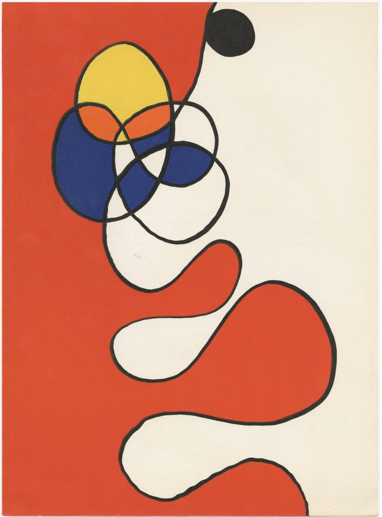 Alexander Calder Abstract Print - Untitled (red yellow, orange and blue circles and squiggles)