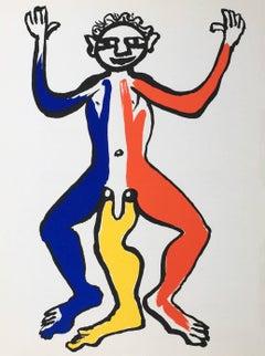 Vintage 1970s Alexander Calder lithograph (Calder three legged man)