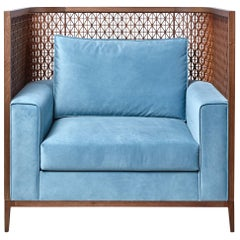 Alexander Chair, Carved Trellis Details Wrapped Around the Back in Blue Velvet