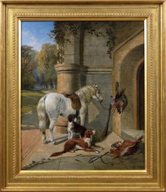 19th Century sporting oil painting of a horse, spaniels & game by a manor house