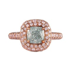 Alexander GIA 1.38ct Fancy Light Blueish Green Diamond with Fancy Pink Diamonds