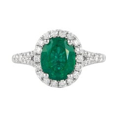 Alexander GIA Certified 2 Carat Emerald with Diamond Halo Ring 18k White Gold