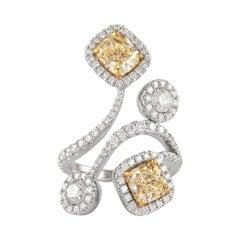Alexander GIA Certified 4.63 Carat Diamond Ring Cocktail Ring 18k Gold