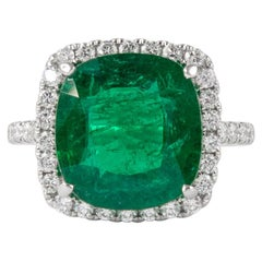 Alexander GIA Certified 5.78 Carat Emerald with Diamond Halo Ring 18k White Gold