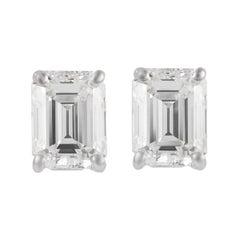 Alexander GIA G VS1 2.37 Carat Emerald Cut Diamond Stud Earrings White Gold