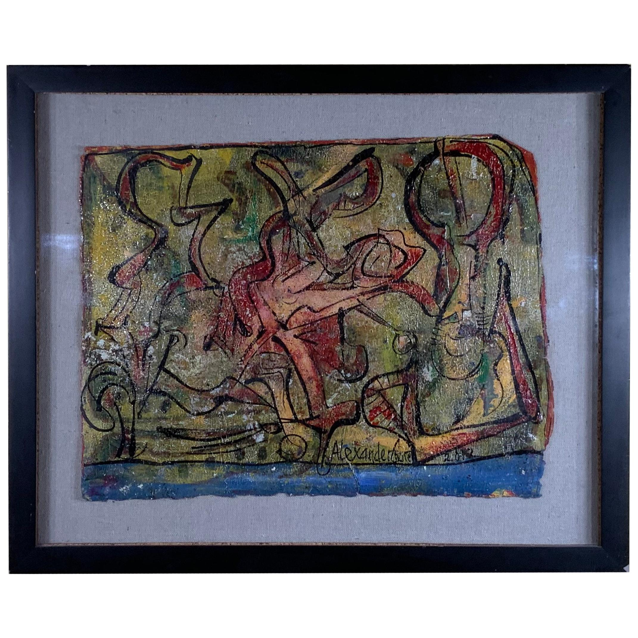 Alexander Gore Abstract Oil Painting On Shadowbox