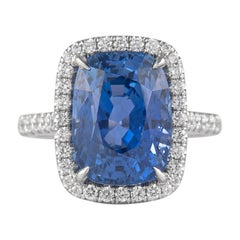 Alexander GRS Certified 10.03ct Burmese Sapphire No Heat with Diamonds 18k