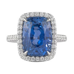 Alexander GRS Certified 10.03ct Burmese Sapphire No Heat with Diamonds 18k