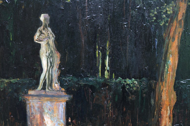 Garden Landscape - Scottish Impressionist oil painting statue Versailles France For Sale 6