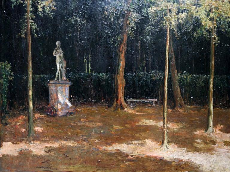 Garden Landscape - Scottish Impressionist oil painting statue Versailles France For Sale 8