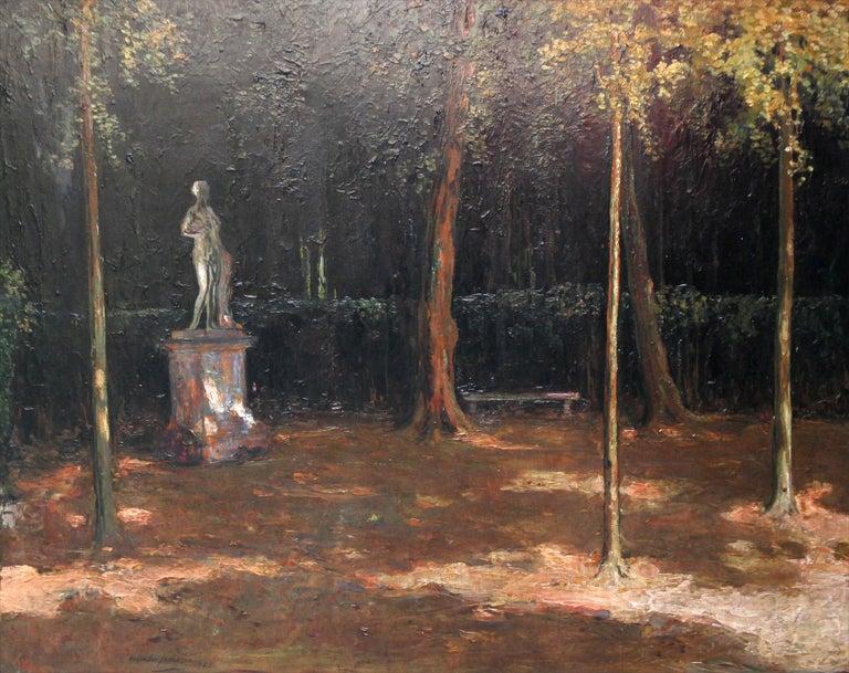 Garden Landscape - Scottish Impressionist oil painting statue Versailles France - Painting by Alexander Jamieson
