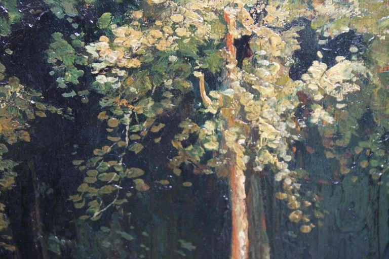 Garden Landscape - Scottish Impressionist oil painting statue Versailles France - Black Landscape Painting by Alexander Jamieson