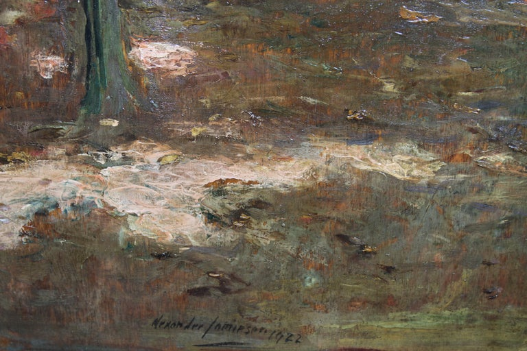 Garden Landscape - Scottish Impressionist oil painting statue Versailles France For Sale 1